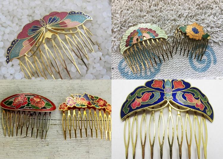 Vintage Cloisonne Hair Combs