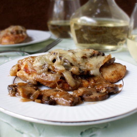 Gruyere Chicken with sauteed onions and mushrooms