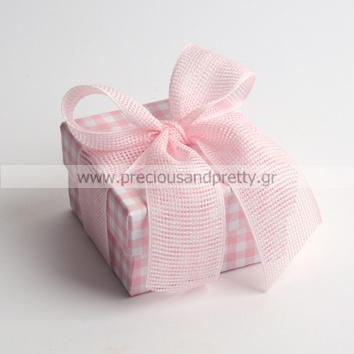 Baptism favor for girl elegant pink plaid boxes B35