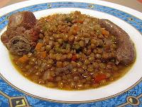 Lentejas con verduritas y carne