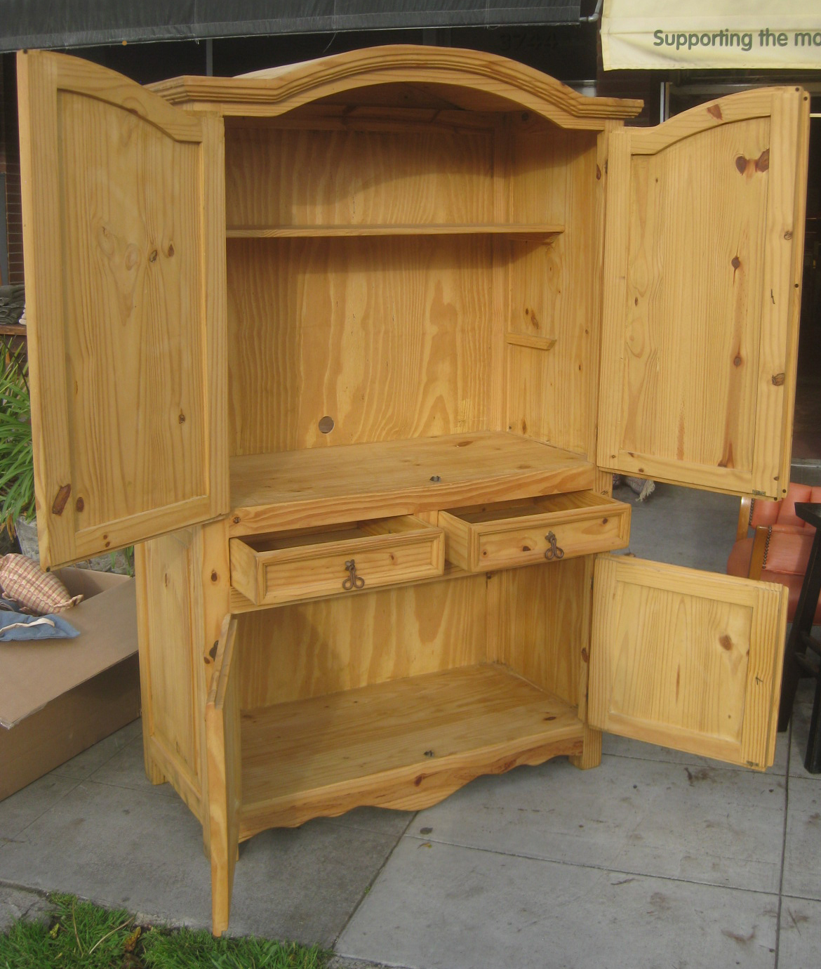 UHURU FURNITURE & COLLECTIBLES: SOLD - Pine Armoire - $145