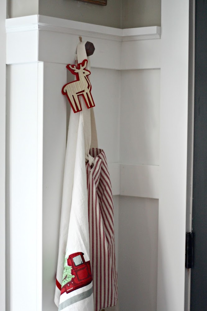 hanging apron in kitchen