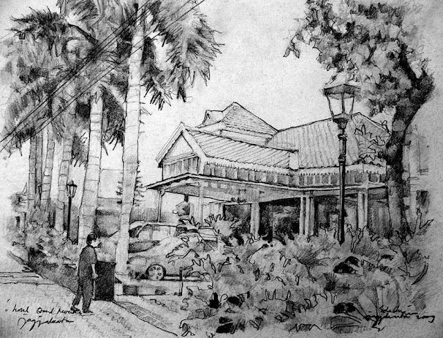 Sketsa The Phoenix Hotel Yogyakarta Tampak Samping