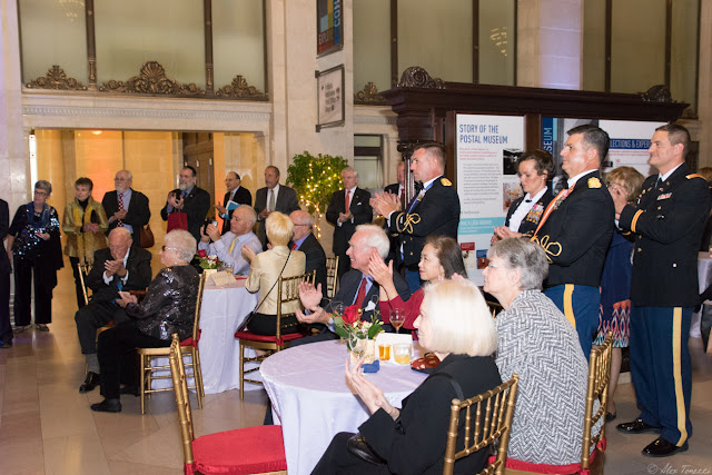 Guests listening to the keynote speeches at the 2015 Keeper of the Flame Awards put on by The Center for Security Policy at the National Postal Museum in Washington, DC