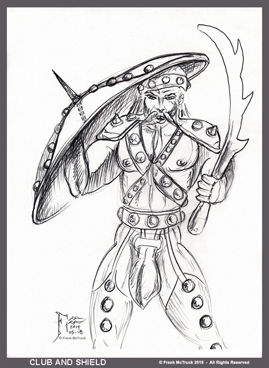 Frank McTruck Celtic warior pencil sketch 'Club and Shield'