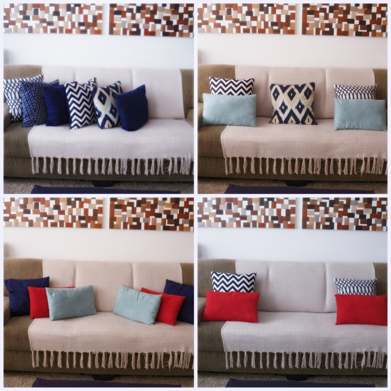 Pequenas mudanças , rápidas e baratas na decoração  Troque a capa das almofadas, você pode fazê-las ou comprá-las. Ou simplesmente invente novas maneiras de arrumar as suas almofadas no sofá. A diferença é notável.