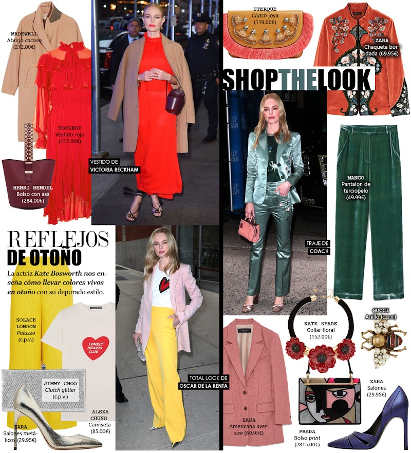 Vestir con colores vivos en otoño (como Kate Bosworth)