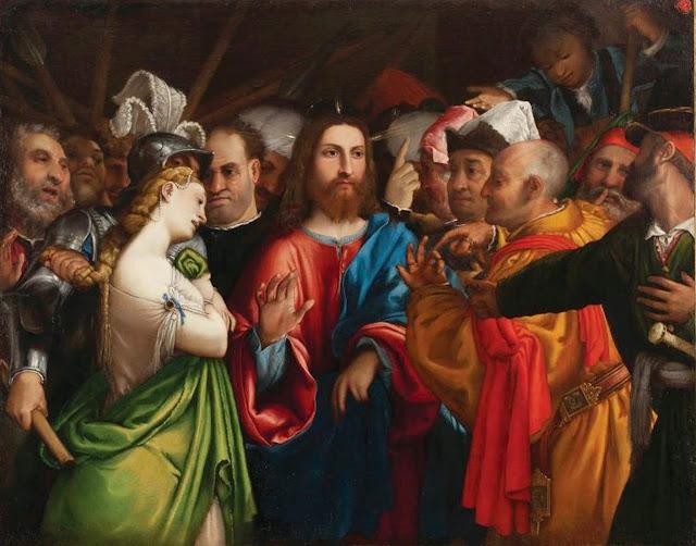 Jesus e l'adultera Lorenzo%2BLotto%2B-%2BCristo%2Be%2Bl%2527adultera