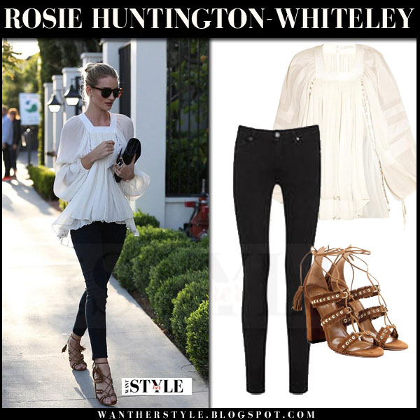 Rosie Huntington-Whiteley in white lace chloe blouse, black skinny paige denim transcend jeans and brown suede aquazzura tulum sandals what she wore model style
