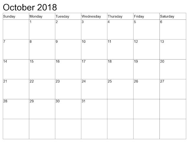 October 2018 USA calendar