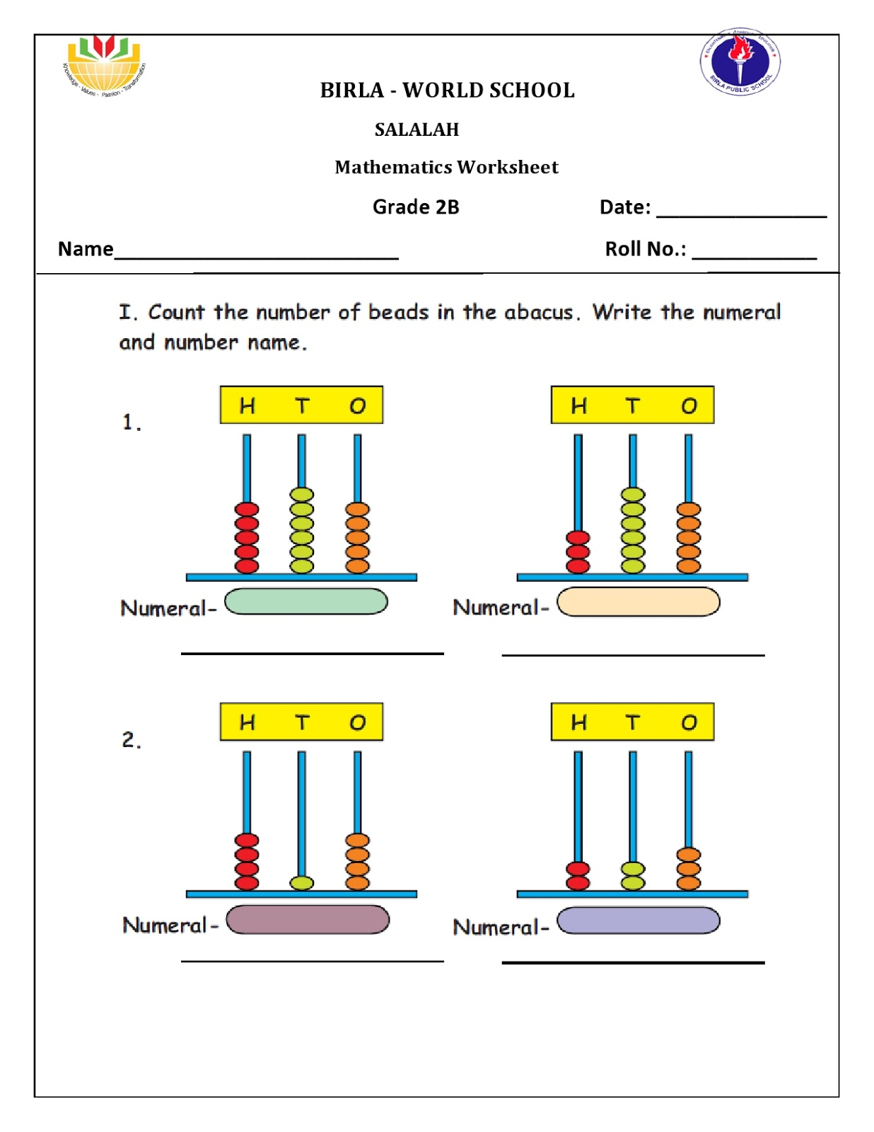 Birla World School Oman Homework For Grade 2 B On 25 08 16
