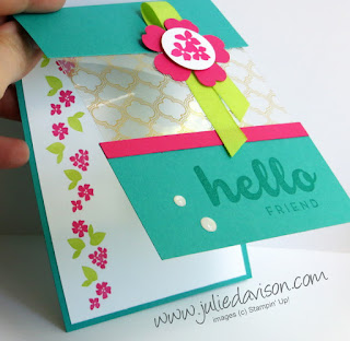 VIDEO: Peekaboo Window Card with Fabulous Foil Designer Acetate ~ www.juliedavison.com ~ for June 2017 Stamp of the Month Club