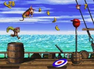 Diddy e Dixie nella nave pirata di ''Donkey Kong Country'' per Super Nintendo