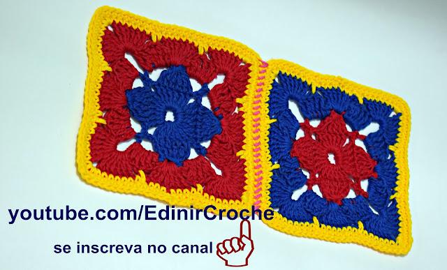 Edinir Croche ensina quadrado em crochê