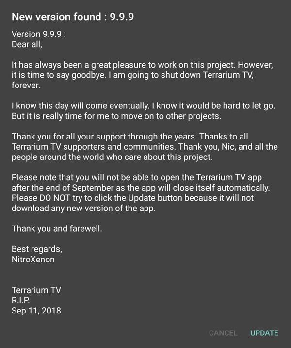 Terrarium TV: The popular pirate app shuts down