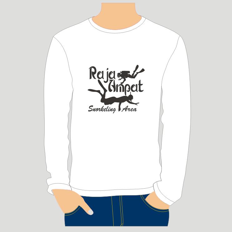 Kaos Lengan Panjang Putih Raja Ampat O-Neck Snorkel - Kaos