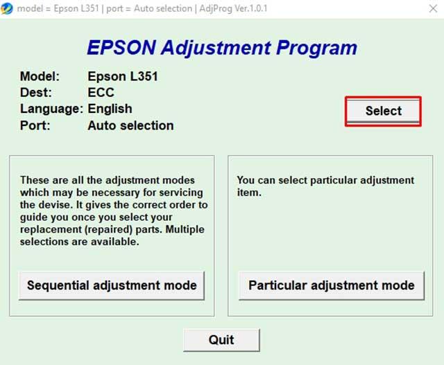 seleccionar el modelo epson l351