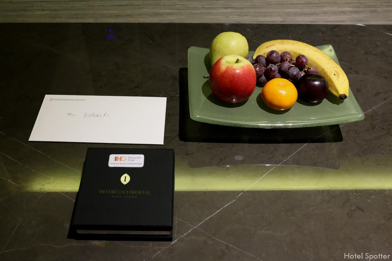 InterContinental Dubai Marina - recenzja hotelu - zestaw powitalny