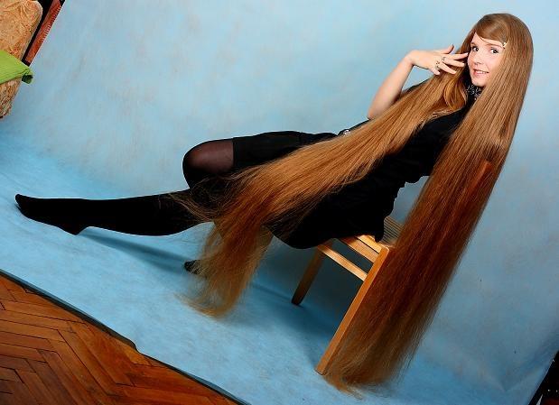 Woman girl model with Floor length hair