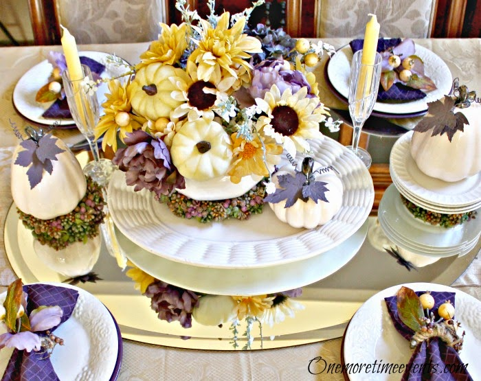 Fall Yellow and Purple Tablescape at One More Time Evnetscom
