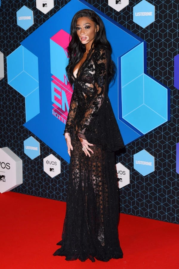 Winnie Harlow attends the MTV Europe Music Awards