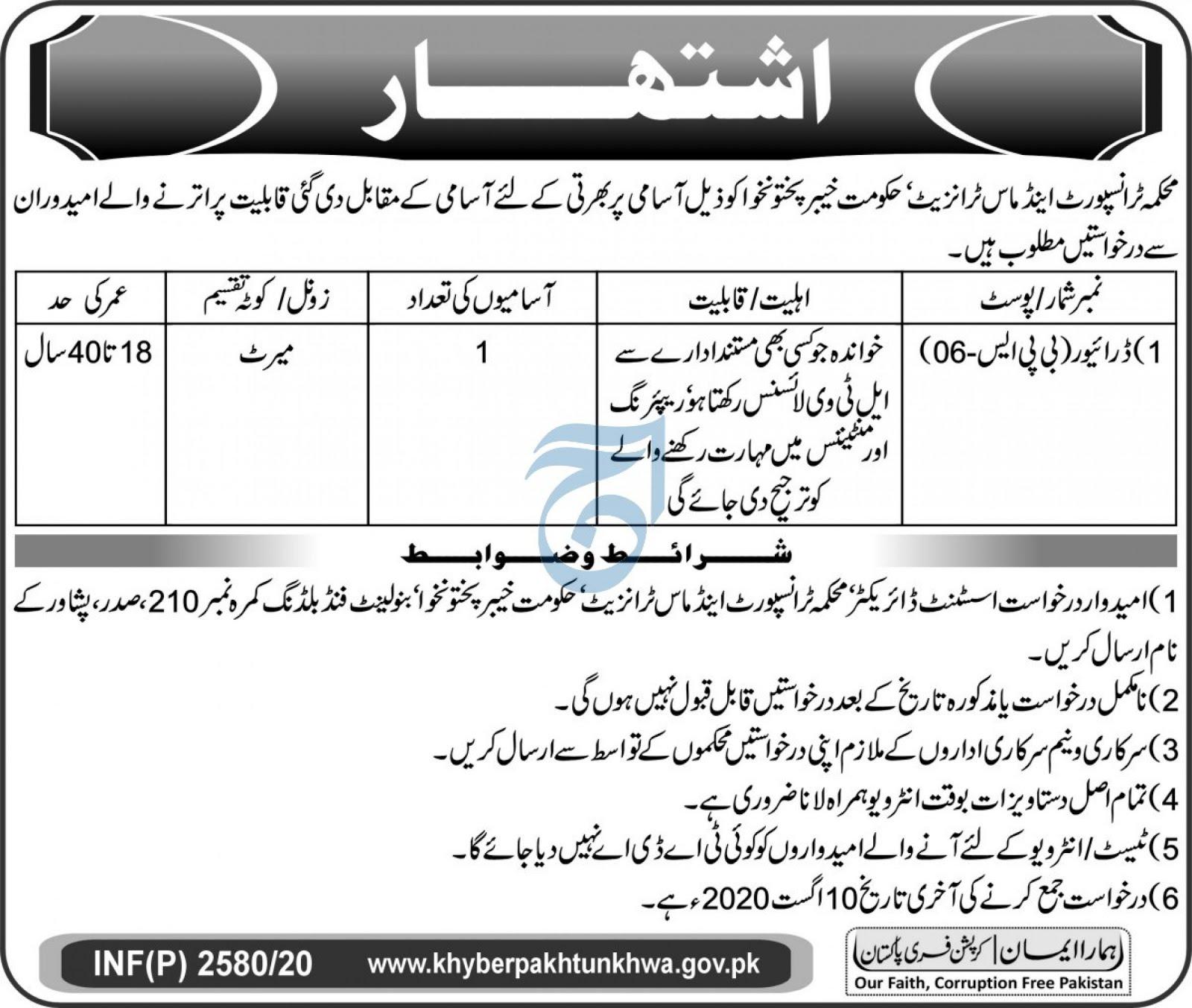 Transport & Mass Transit Department KPK Jobs 2020 Trans Peshawar Latest