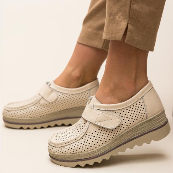 Pantofi casual femei moderni bej piele naturala cu talpa groasa