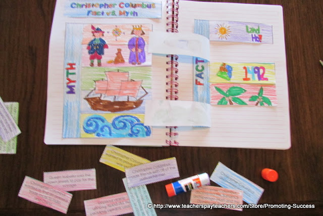Christopher Columbus Day Activities Myth vs. Reality Interactive Notebook