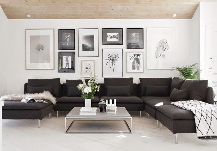 Inspiración Deco: Un salón nórdico en blanco, negro y madera | três ...