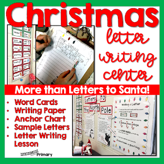 Get your students excited about writing in December with a Letter writing center that is Much More than just Santa letters.  It includes a detailed lesson to introduce letter writing, an anchor chart and pieces to create samples to refer to as well as writing paper.  It is guaranteed to keep your students writing all of December.