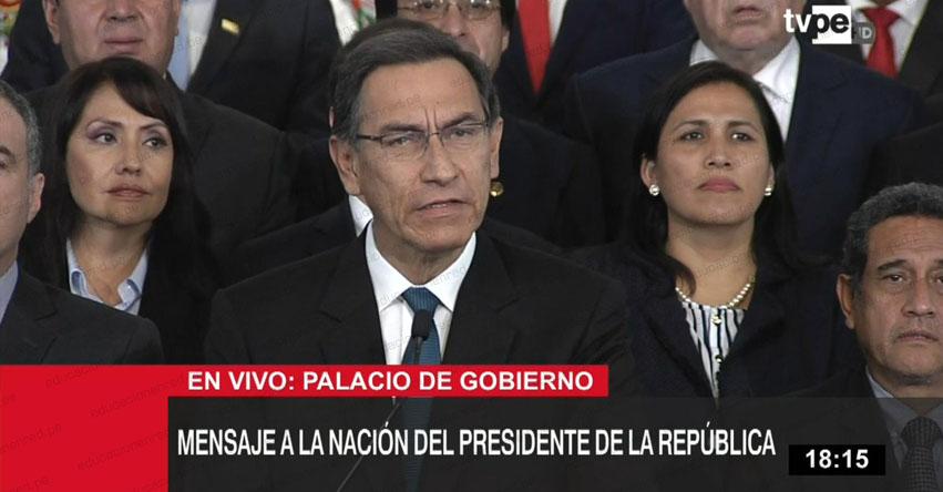 Presidente Vizcarra Presentará Cuestión de Confianza al Congreso de la República [VIDEO]