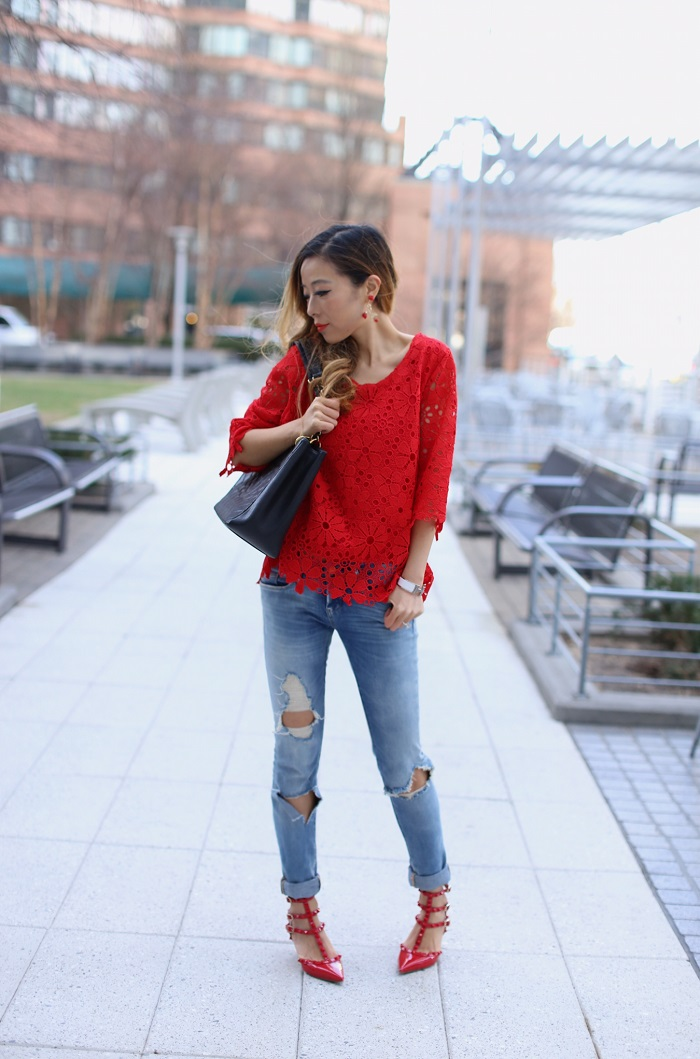 Chicwish flower crochet top, blank denim distressed jeans, Valentino rockstuds, baublebar anderson earrings, chanel grand shopping tote, hermes bracelet, spring style, spring outfit
