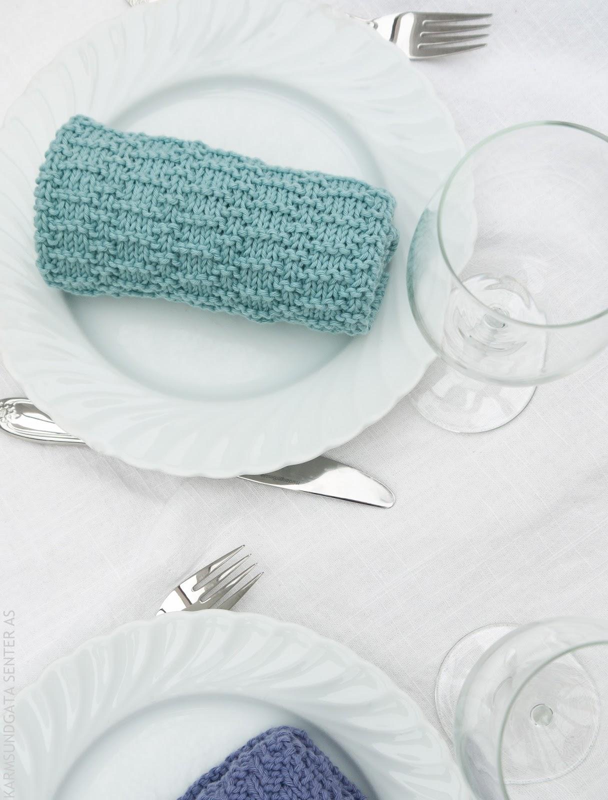 Strikkede middagsservietter i Vikingarn Vår bomull oppskrift