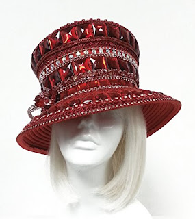 Mr. Song Millinery Kentucky Topper Rhinestone Crystal Beaded Couture Hat Red Siam Ruby