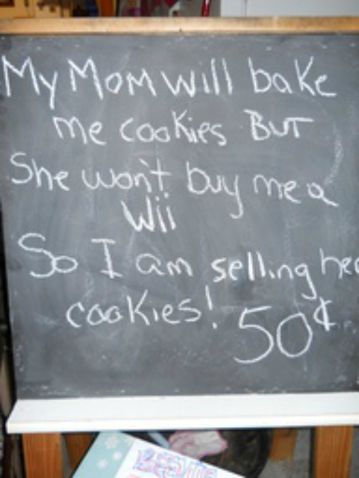 Junior's first Bake Sale... Smart Kid