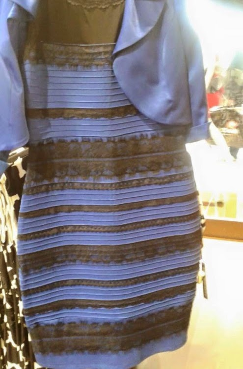 Clearly, the dress is blue and black.