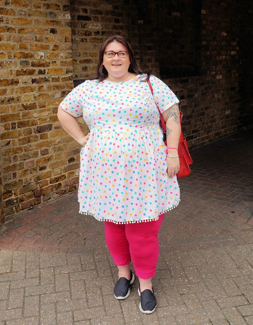 Simply-Be-Sprinkle-of-glitter-polka-dot-plus-size-dress-with-pom-poms plus size summer dress review