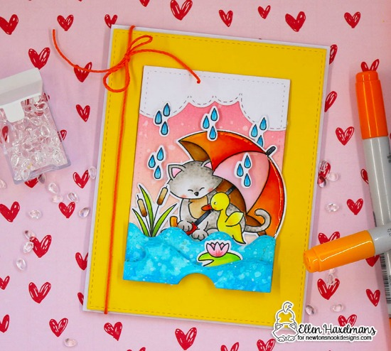 Interactive Rainy Day Card by Ellen Haxelmans | Front | Newton's Rainy Day Stamp Set and Sky and Sea Border Die Sets by Newton's Nook Designs #newtonsnook #handmade