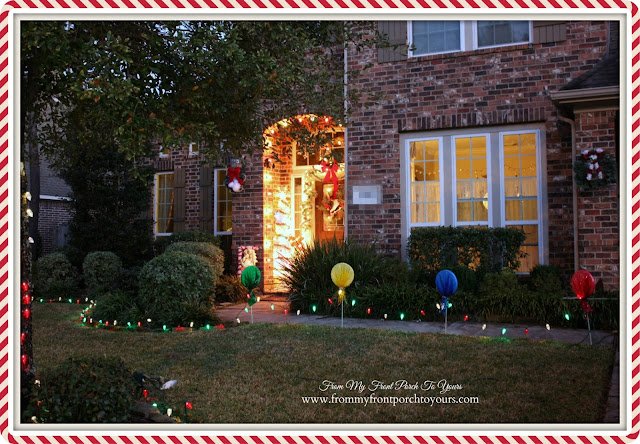 Christmas Lights At Night-Outside Christmas Decor-Christmas Front Porch-From My Front Porch To Yours