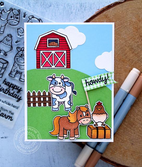 Sunny Studio Stamps: Barnyard Buddies Hilltop Barn Scene Card by Vanessa Menhorn