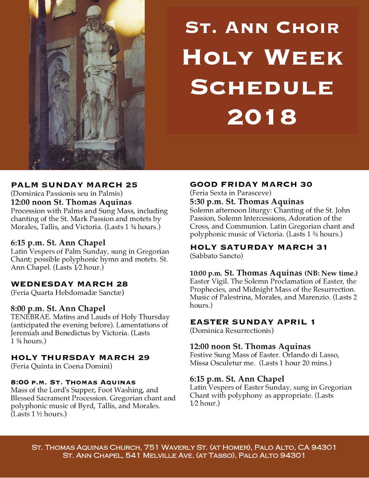 New Liturgical Movement: Holy Week Schedule for the St Ann