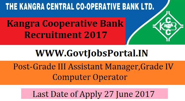 Kangra Cooperative Bank Recruitment 2017- Grade IV Clerk for General ...