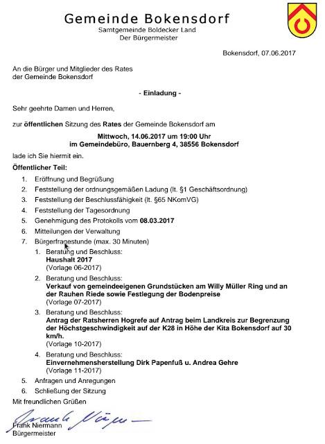 Einladung Ratssitzung 14.06.2017 Bokensdorf
