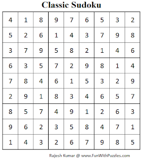 Classic Sudoku (Fun With Sudoku #63) Solution