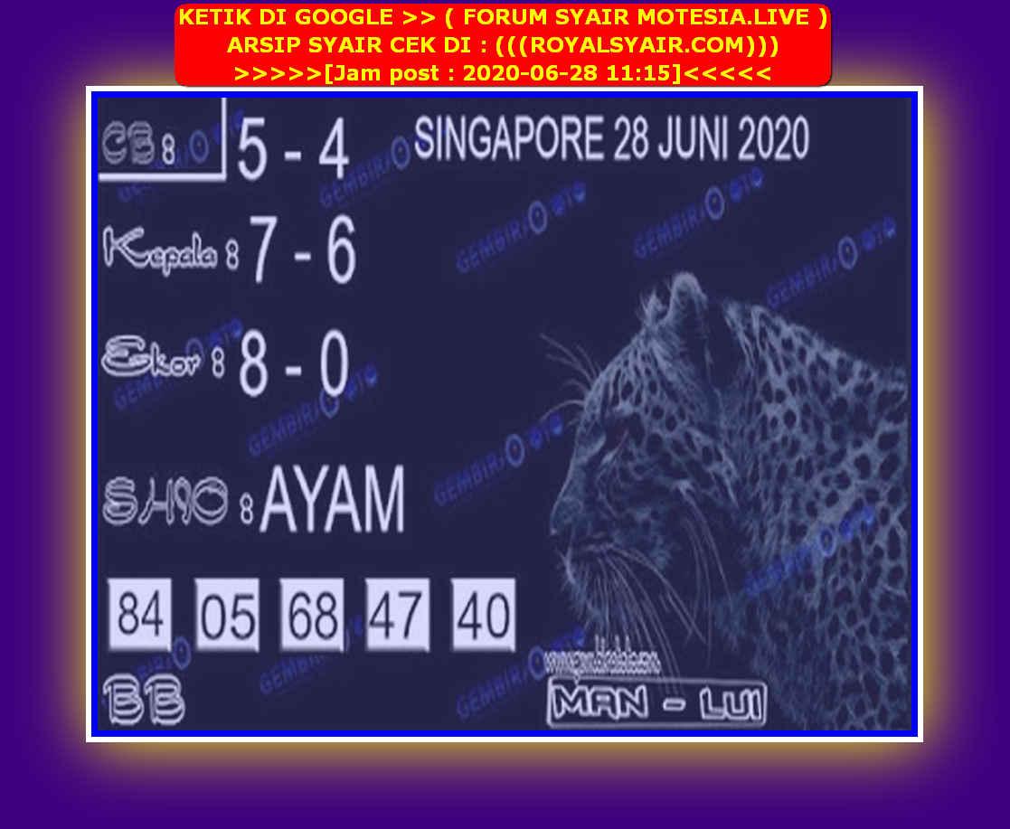 Kode syair Singapore Minggu 28 Juni 2020 123