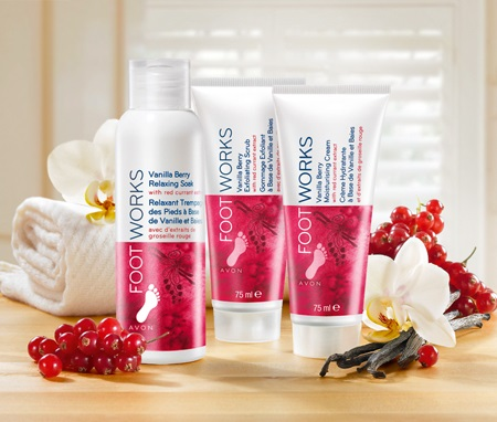 Avon Foot Work Vanilla Berry winter pedicure line (relaxing soak, exfoliating scrub and moisturinzing cream)