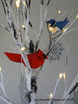 Cardinal, Blue jay and Birch tree, photo and origami ©2018 Tina M. Welter