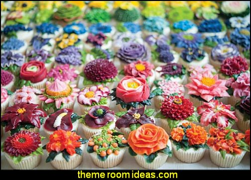 100 Buttercream Flowers  flower garden tea party themed decorations - Floral Fiesta garden party decor -  Victorian garden party - backyard tea party -  Vintage tea party decorations - birthday tea party -  Spring garden Party - Victorian High Tea style  entertaining - Tea party decorations