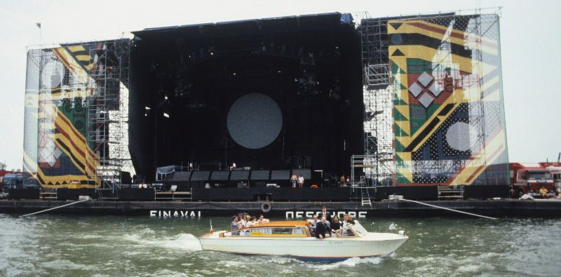 33 photographs of pink floyd concert in venice on a massive floating stage in 1989