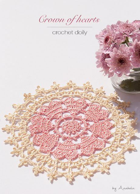 Crown of hearts crochet doily by Anabelia Craft Design